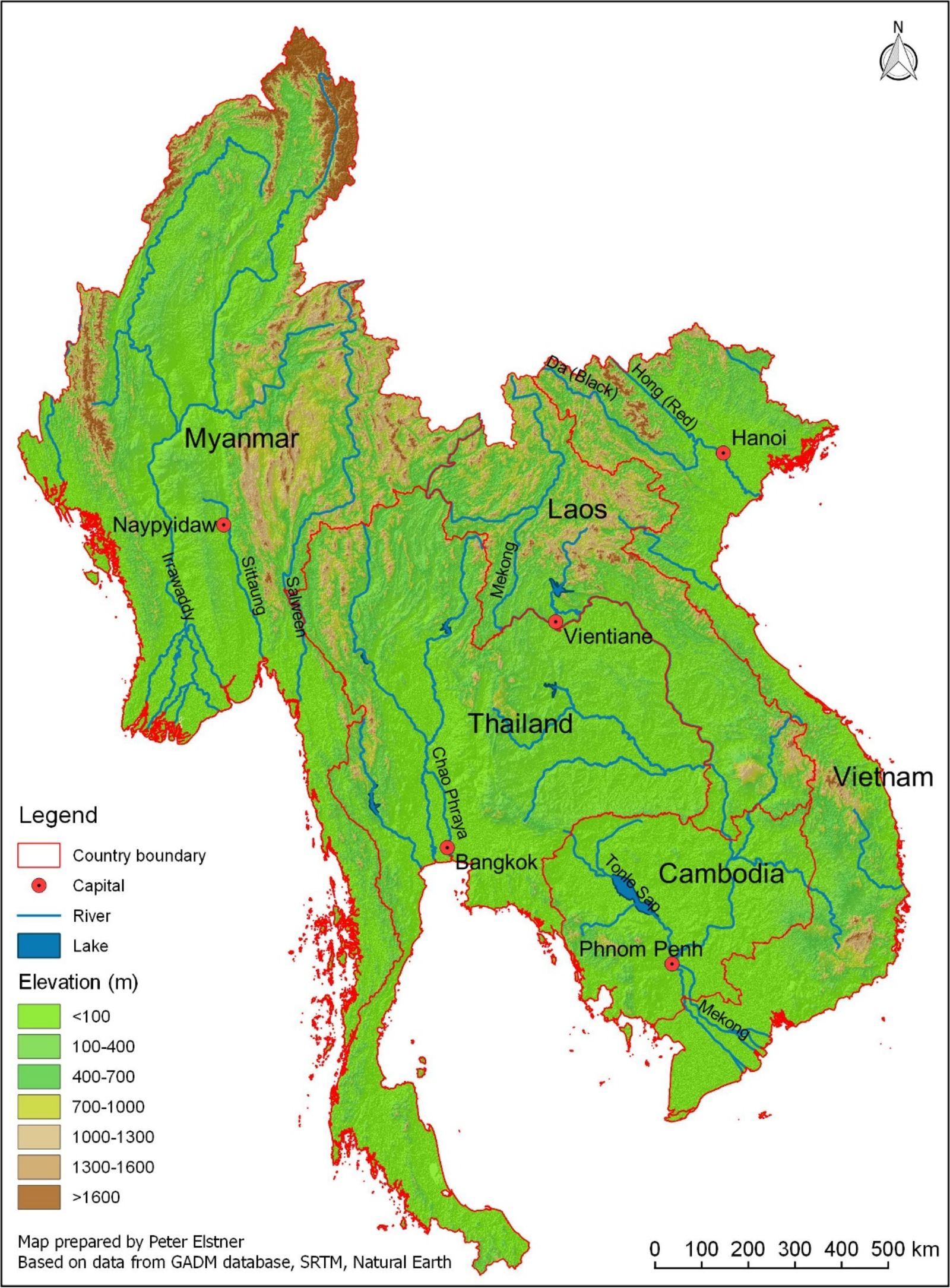 Topographic map of Mainland Southeast Asia | ECHOcommunity.org