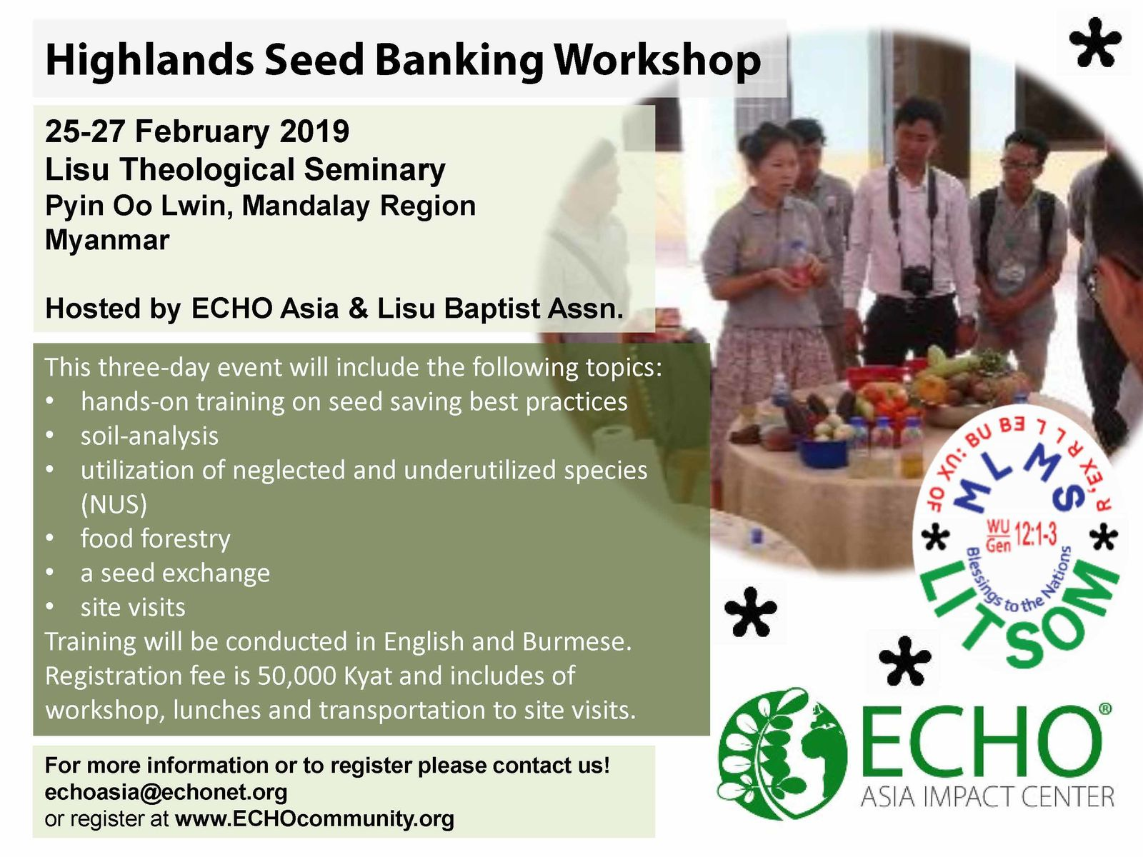 Highlands Myanmar Seed Banking Workshop Feb 2019 flyer