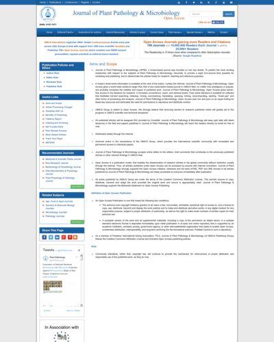 Journal of Plant Pathology & Microbiology | ECHOcommunity org