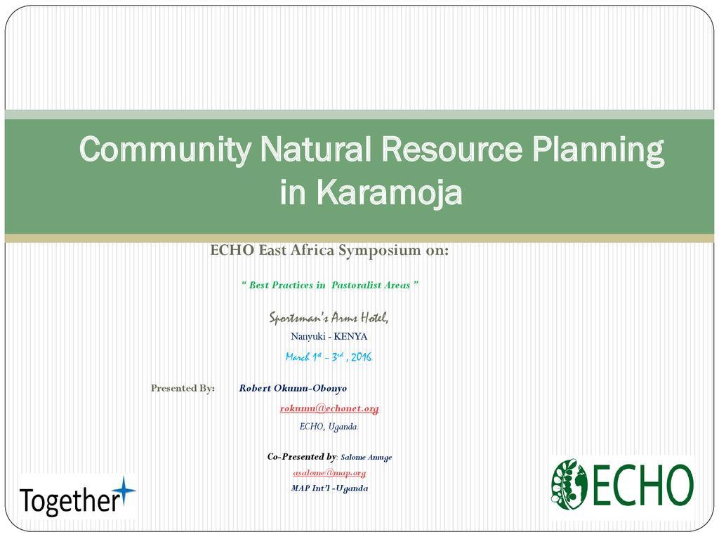 Community Natural Resource Planning in Karamoja