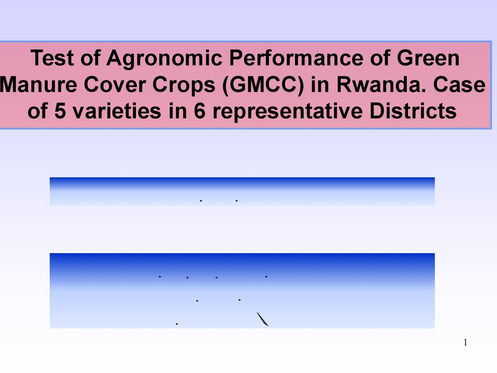 Research on green manure cover crops in 6 districts of Rwanda