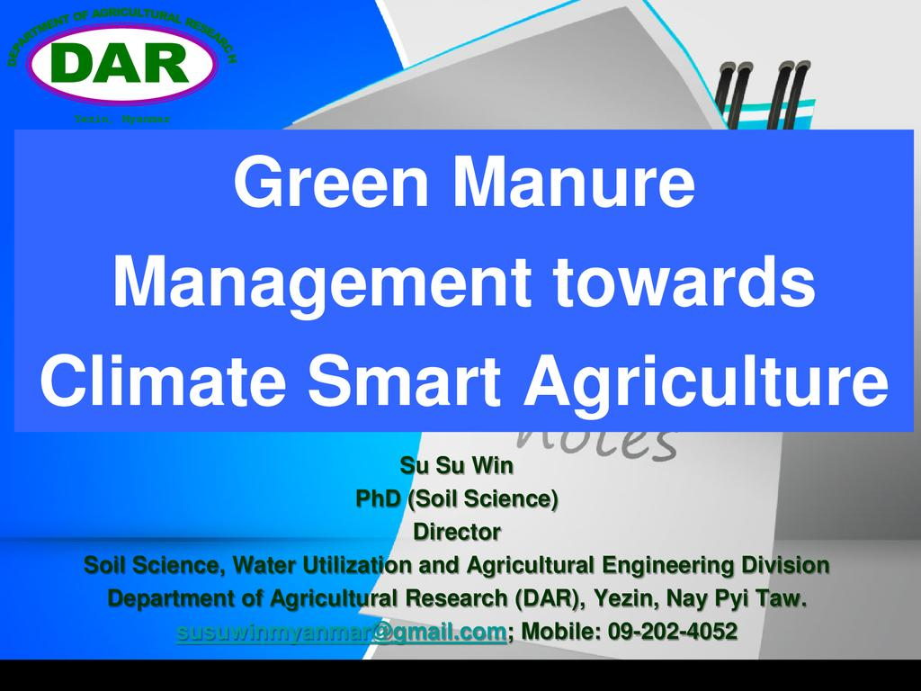 Green Manure Management Towards Climate Smart Agriculture