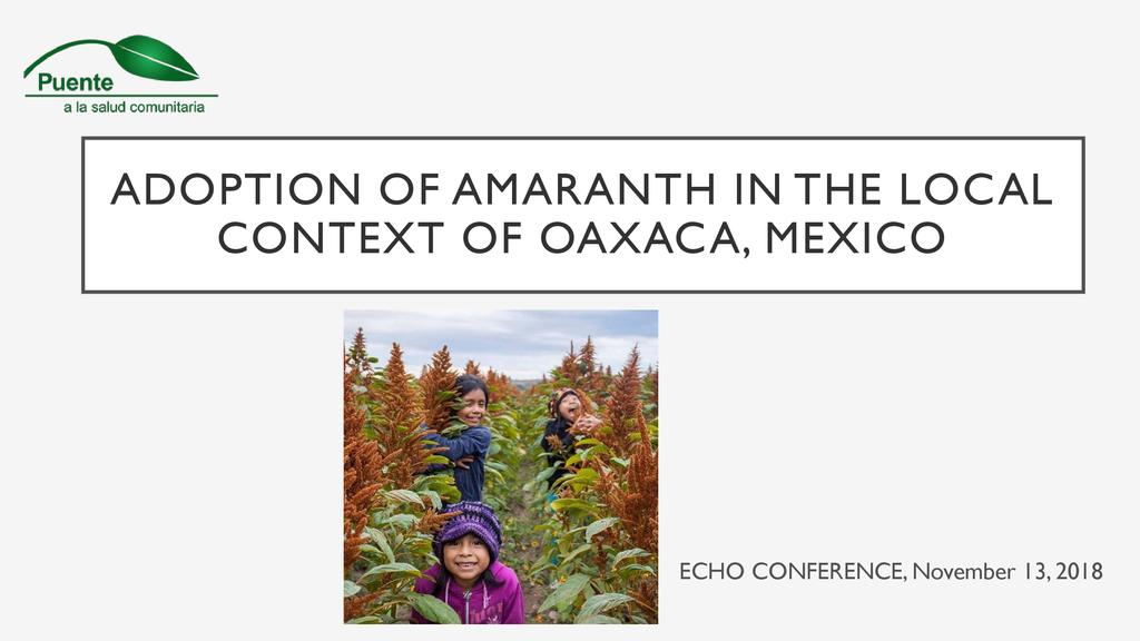 The process of adoption of amaranth in the local context of Oaxaca, Mexico