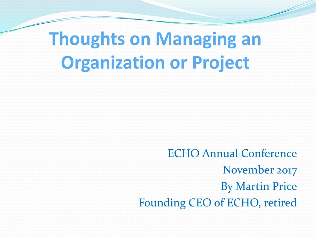 Practical lessons about managing a non-profit organization