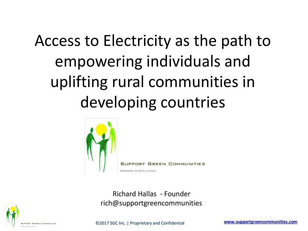 Access to electricity as the path to empowering individuals and uplifing rural communitities in the developing world