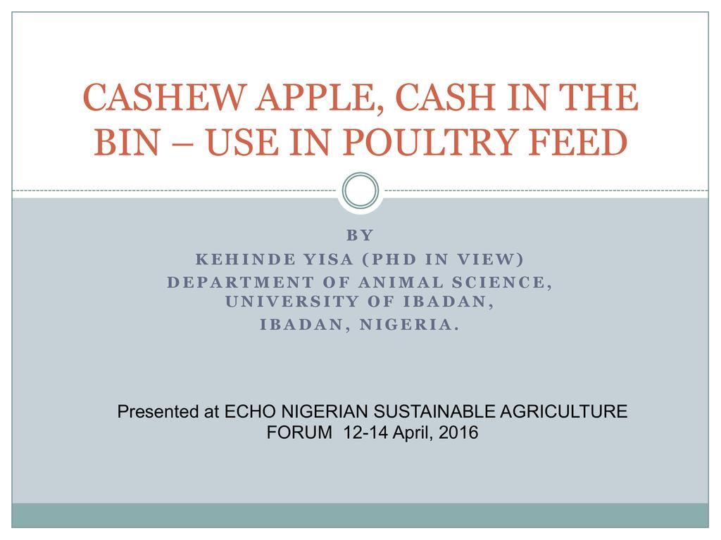 Cashew Apple, Cash in the Bin – Use in Poultry Feed
