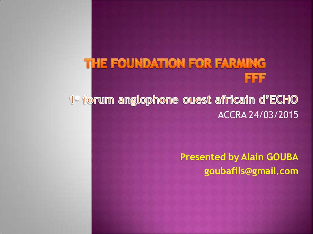 Foundations for Farming