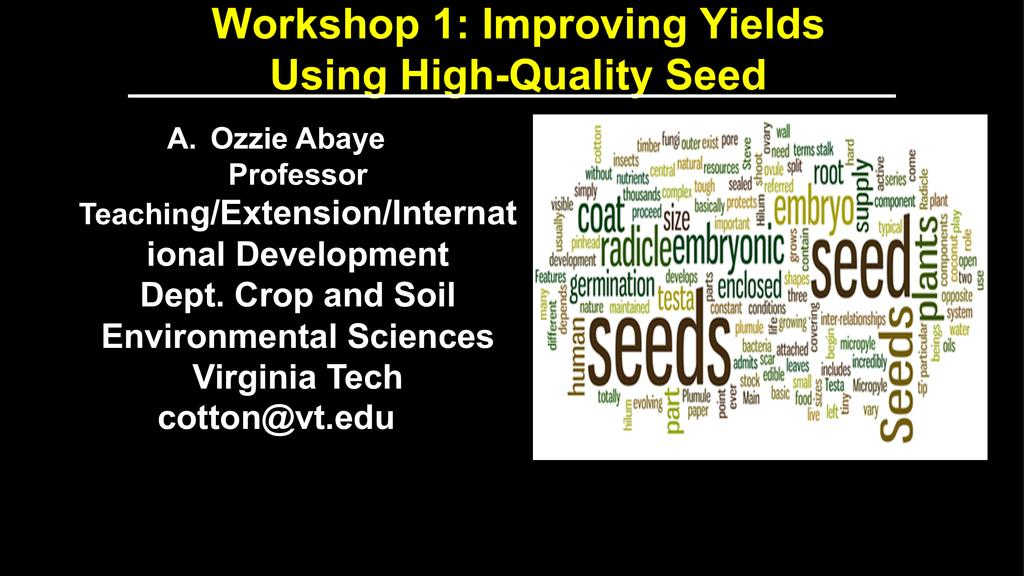 Improving Yields Using High-Quality Seed