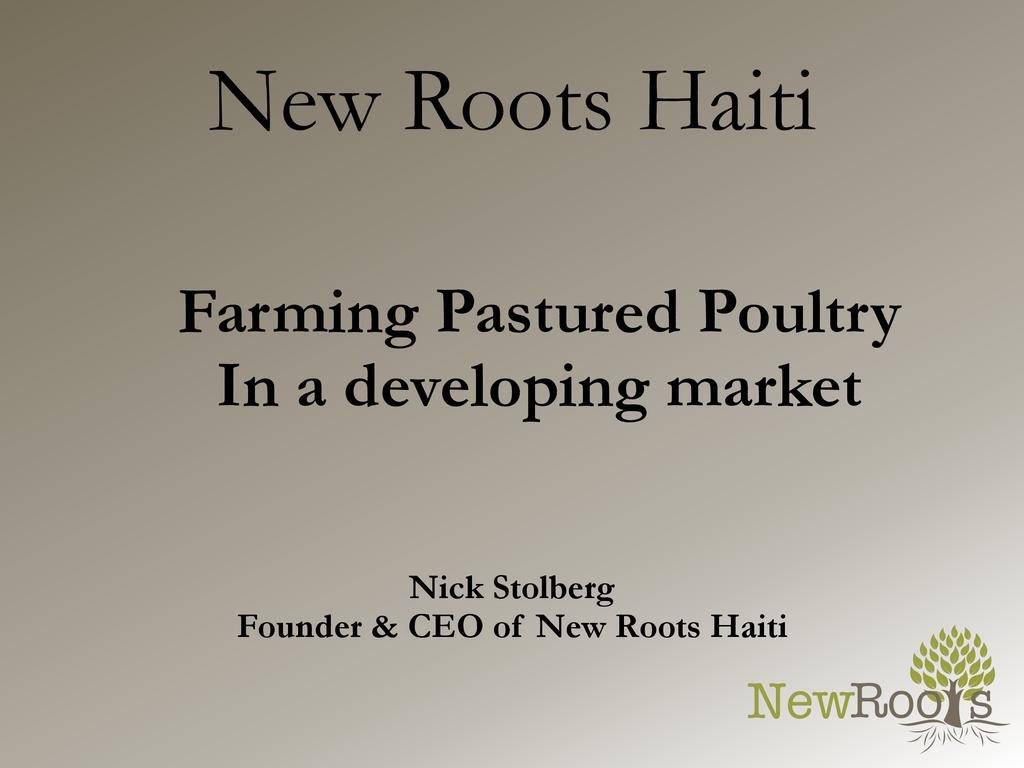 Farming pastured poultry in a developing market