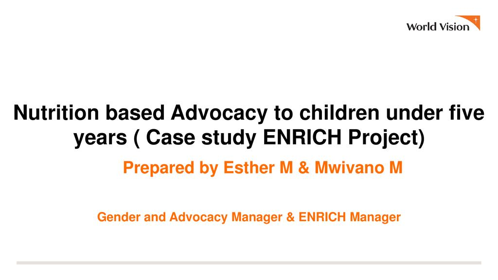 Nutrition-based advocacy for children under 5 years