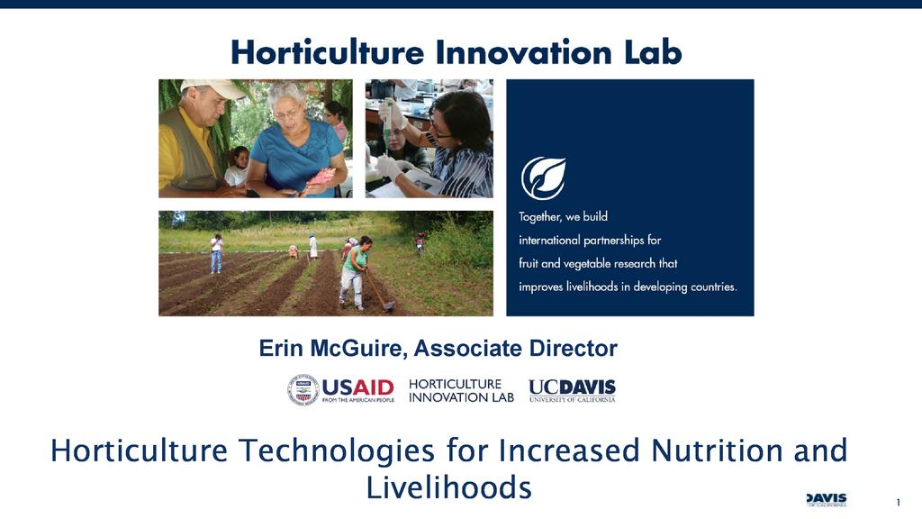 Scaling horticulture technologies for smallscale farmers – From production to postharvest