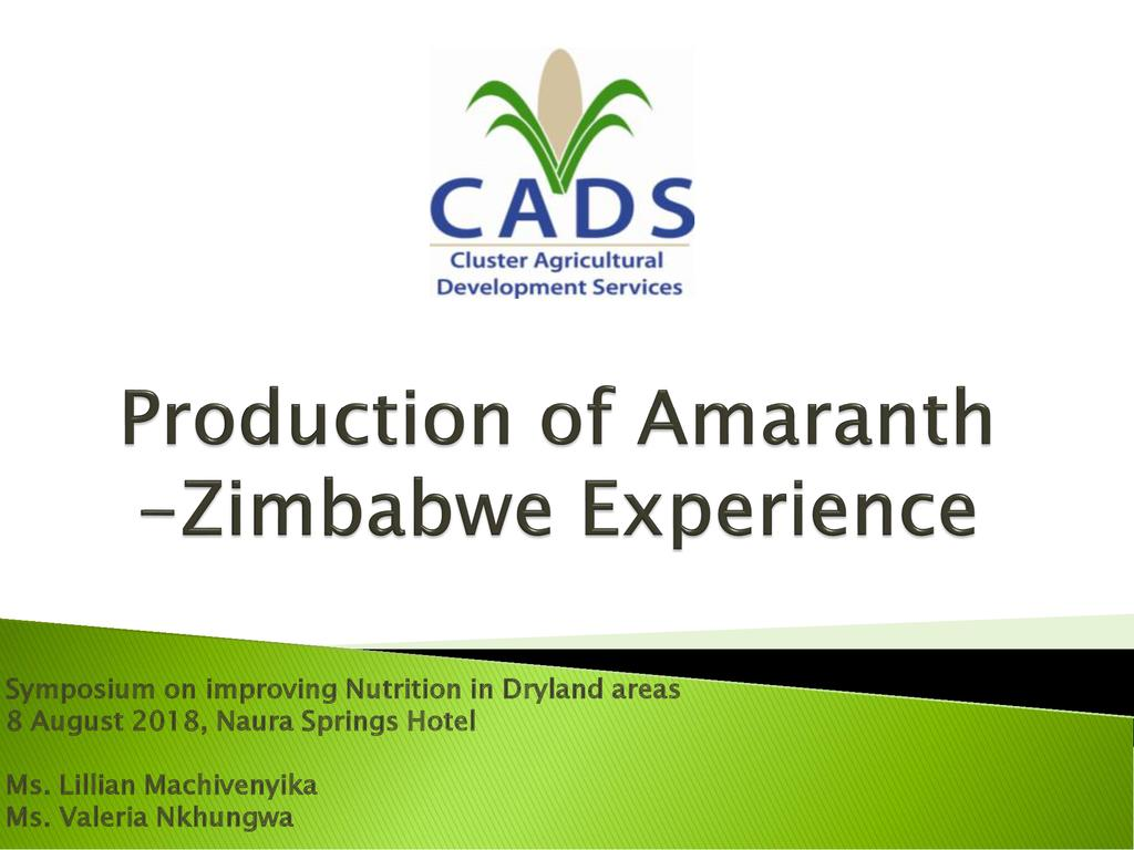 Production of Amaranth – a case study of Zimbabwe