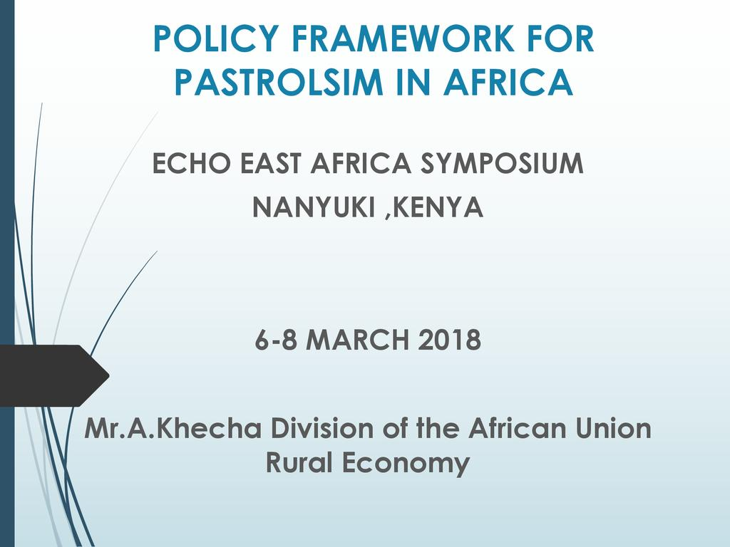 Policy Framework for Pastoralism in Africa