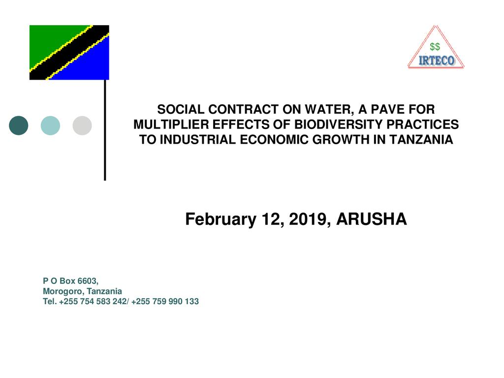 Social contract on water, a pave for multiplier effects of biodiversity practices to industrial economic growth in Tanzania
