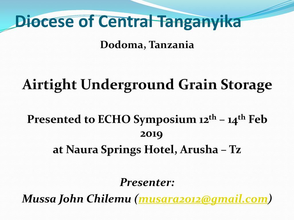 Airtight underground grain stores among Dodoma farmers