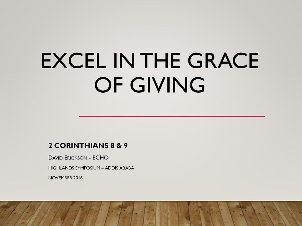Excel in the Grace of Giving