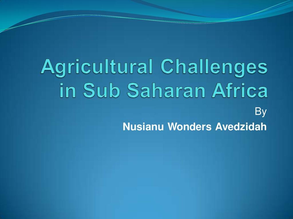 Agricultural Challenges in Sub-Saharan Africa
