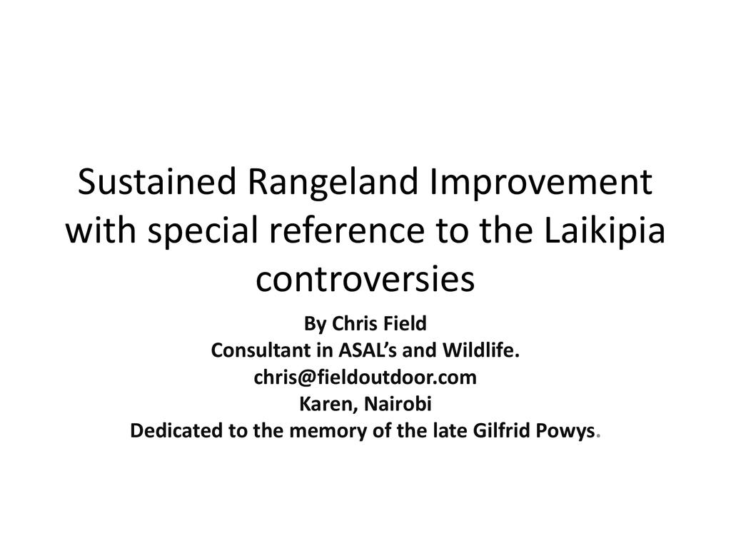 Research and development among pastoralists – the Laikipia rangelands controversies
