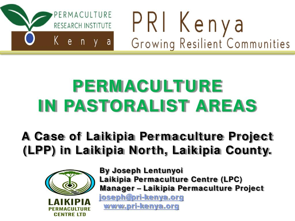PERMACULTURE IN PASTORALIST AREAS