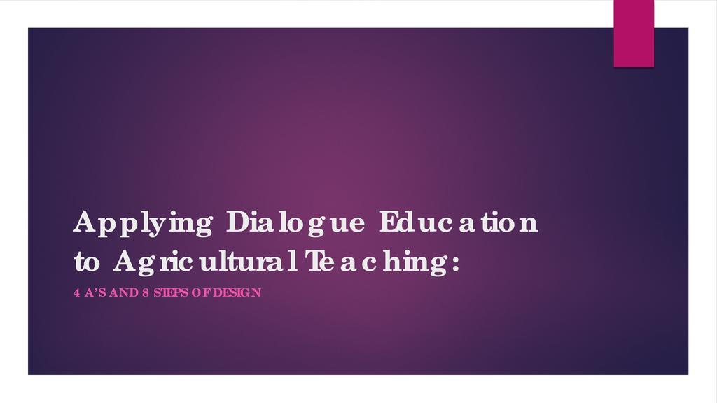 Dialogue education and farmers