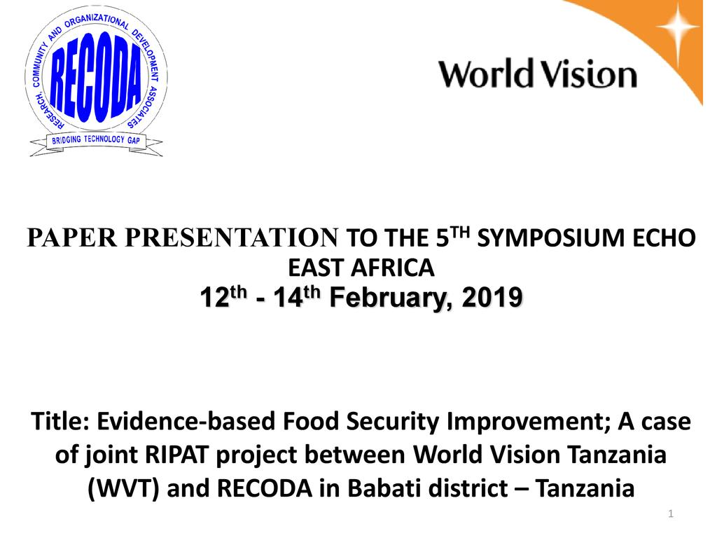 Evidence-based best practices to impact food security – a collaboration of RECODA and World Vision