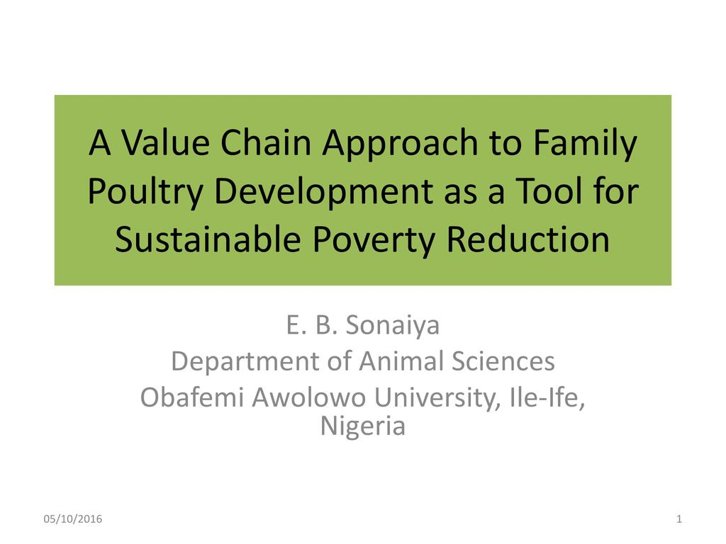 A Value Chain Approach to Family Poultry Development as a Tool for Sustainable Poverty Reduction