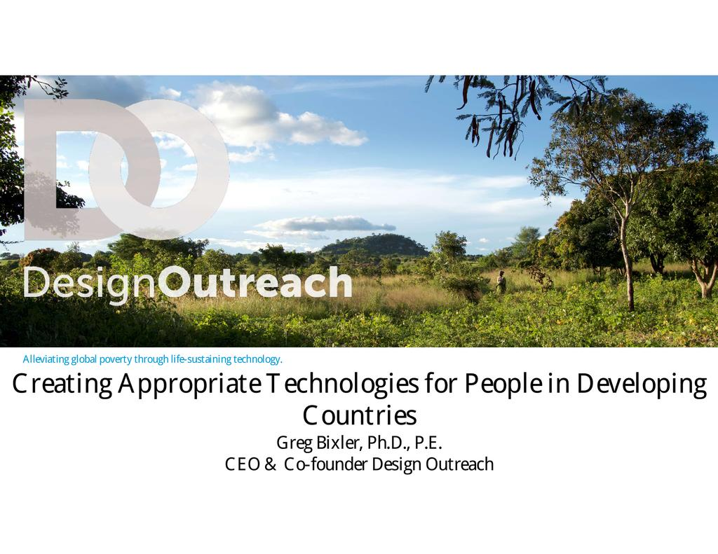 Creating appropriate technologies for people in developing countries