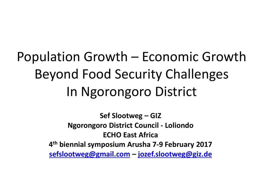 Population and food security challenges in Ngorongoro District