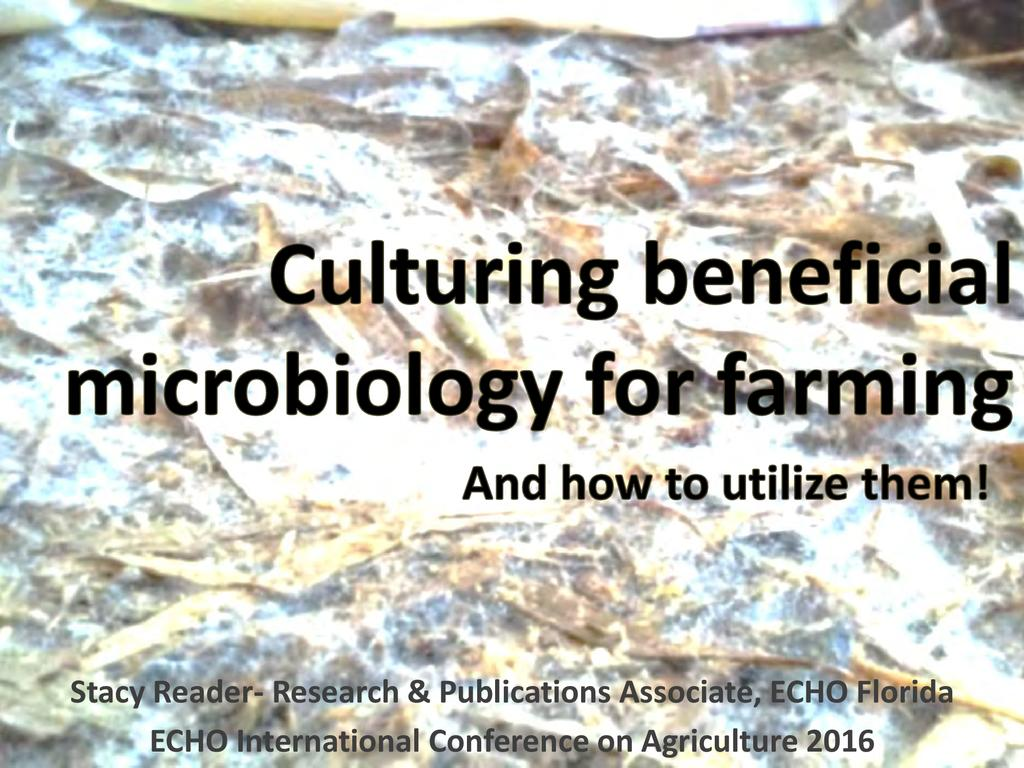 Culturing beneficial microbiology for farming