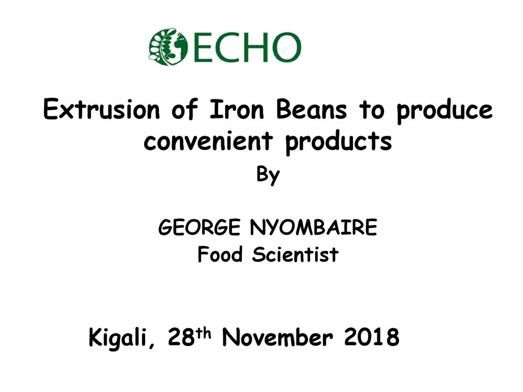 Processing of high Iron Beans into Convenient Products