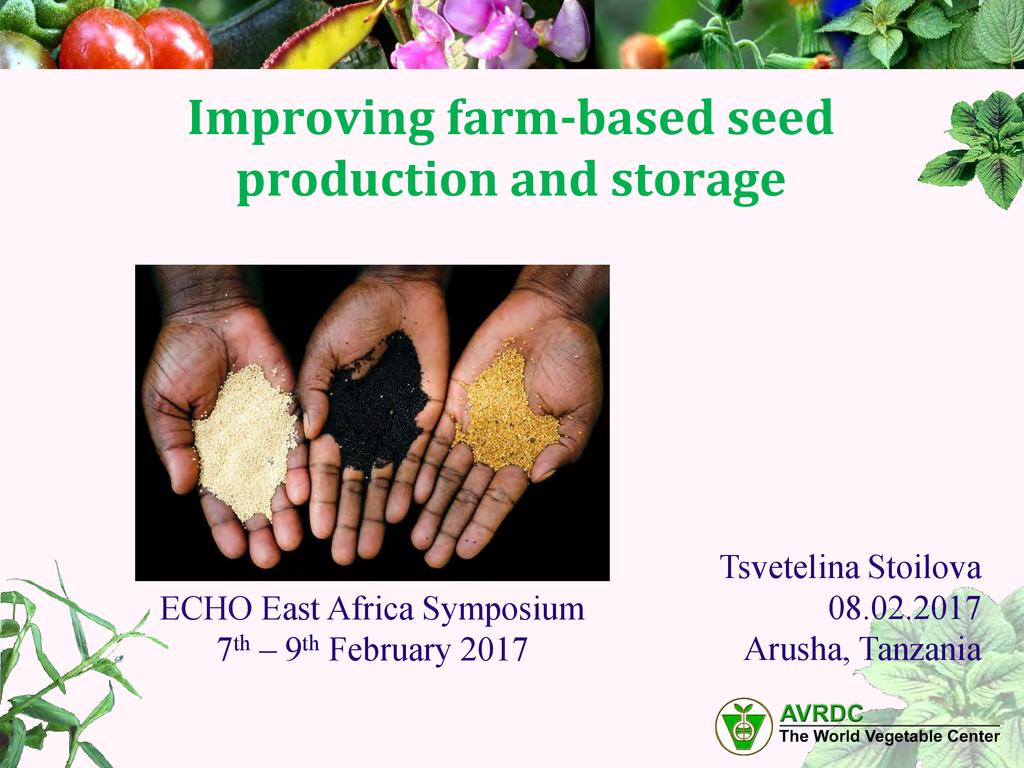 Improving farm based seed selection and storage  0