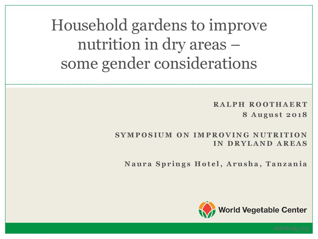 Kitchen Gardens to Improve Nutrition in Dry Areas