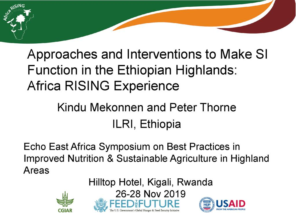 Approaches and interventions to make Sustainable intensification function in the Ethiopian highlands: Africa RISING experience
