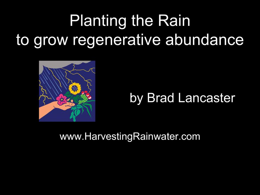Water harvesting principles the story of an african rain farmer design guidelines for regenerative water and fertility management  0