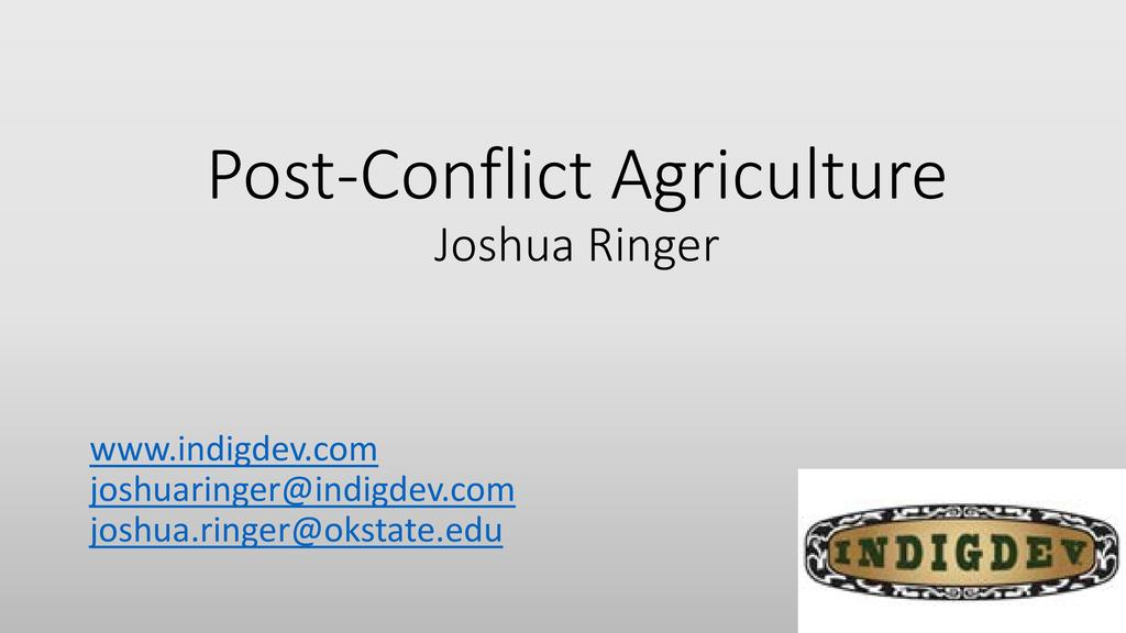 Post-conflict agriculture