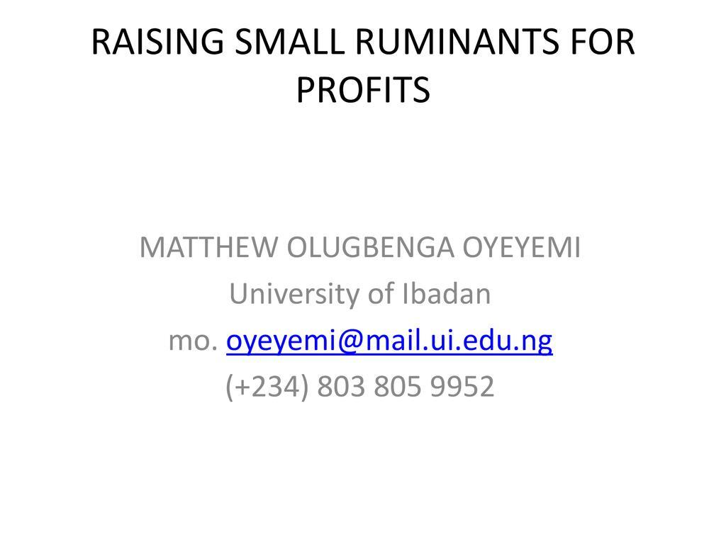 Raising Small Ruminants for Profits