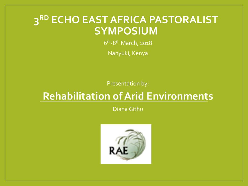 Rehabilitation of Arid Environments