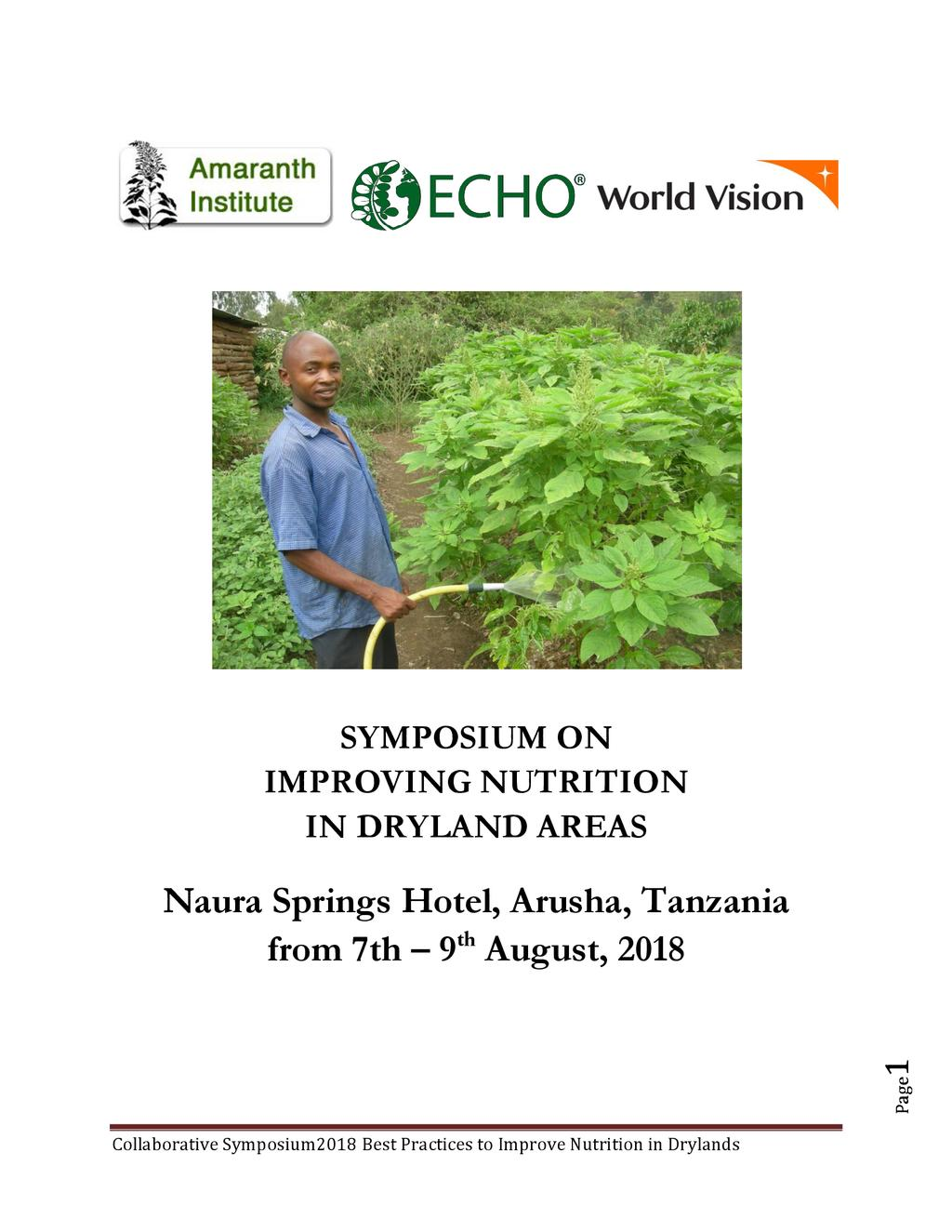 Symposium on Improving Nutrition in Dryland Areas