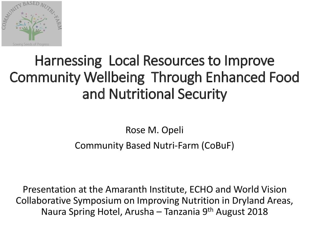 Harnessing local resources to improve community well-being through enhanced food and nutritional security