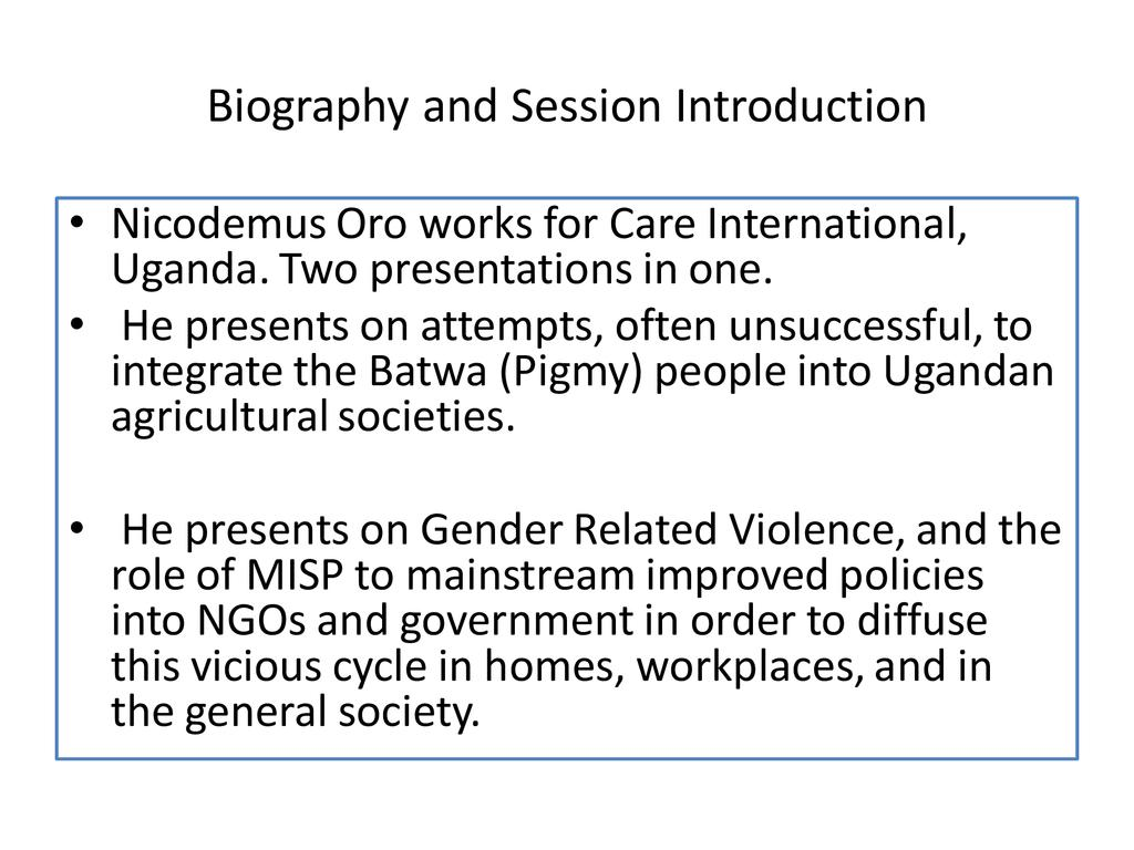 Batwa and Gender Related Violence