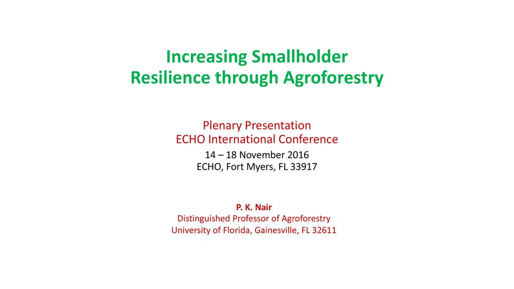 Increasing smallholder resilience through agroforestry