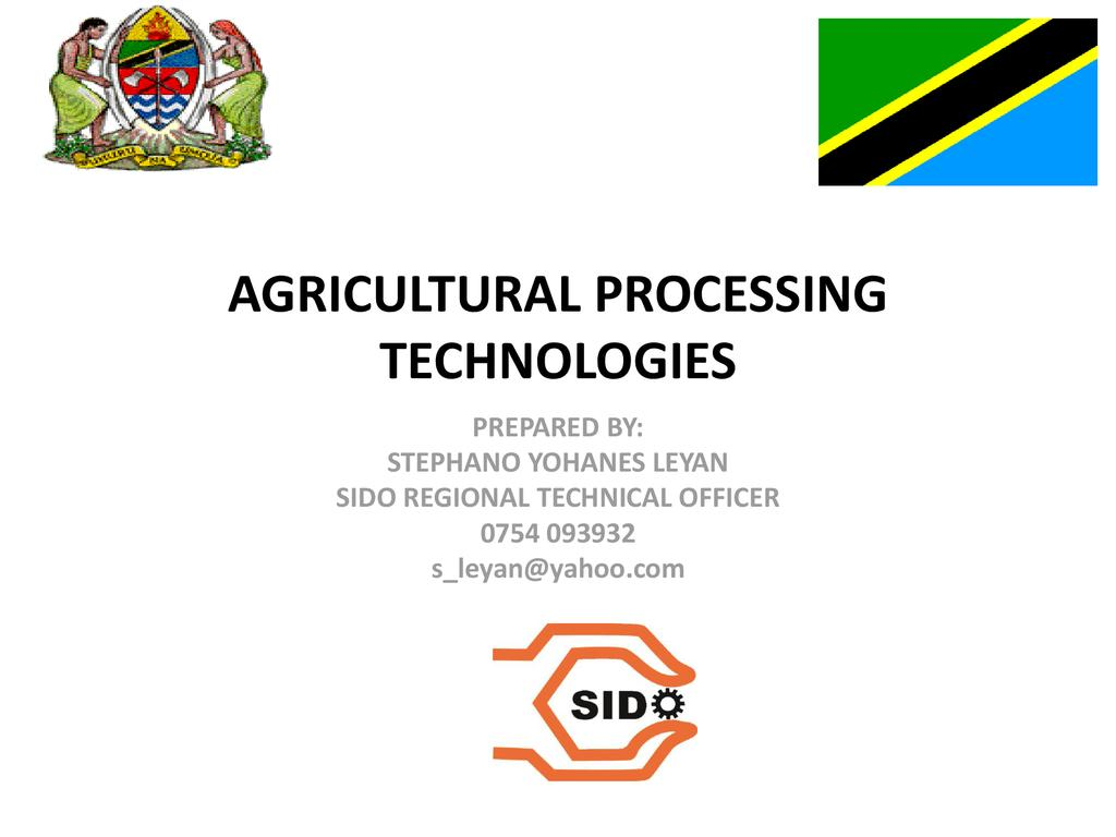 Agricultural Processing Technologies