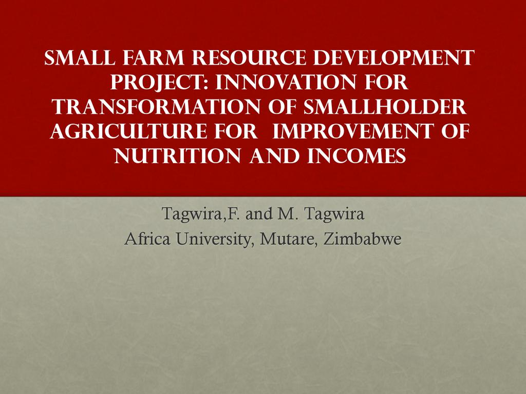 Africa University small farm resource center