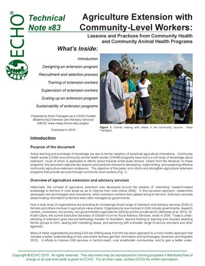 Tn 83 agriculture extension with community level workers lessons and practices from community health and community animal health programs thumbnail 0