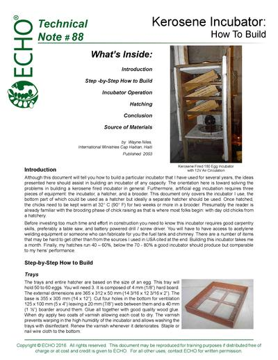 TN #88 How to Build a Kerosene Fired 180 Egg Incubator with