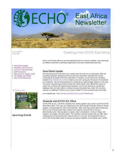Echo east africa newsletter issue 2 august 2013  0