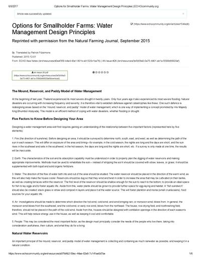 Options for smallholder farms water management design principles  0