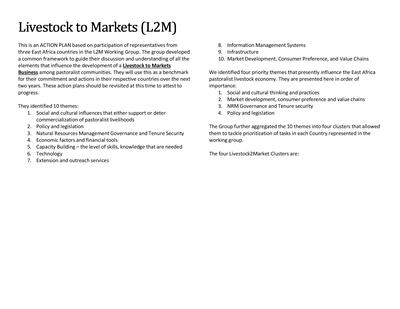 Livestock to Markets (L2M) - Action Plan