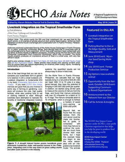Livestock integration on the tropical smallholder farm  0