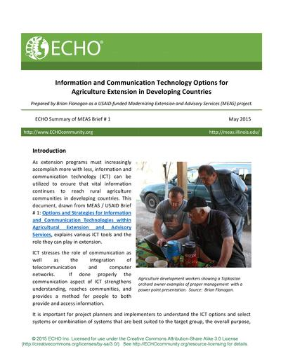 Information and communication technology options for agriculture extension in developing countries thumbnail 0
